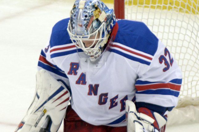 Antti Raanta made 25 saves as New York won for the seventh time in its last eight road games with a 3-2 victory over the Minnesota Wild. File Photo by Archie Carpenter/UPI