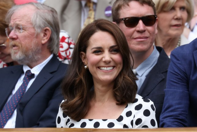 Kate Middleton attends the Wimbledon tennis tournament on Monday. The Duchess of Cambridge showed off her new, shorter hair at the event. Photo by Hugo Philpott/UPI