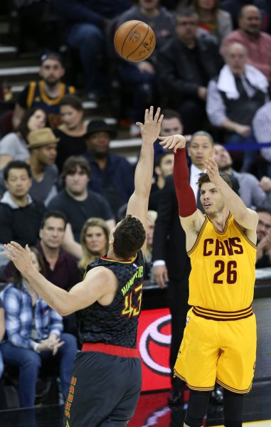 Former Cleveland Cavaliers guard Kyle Korver is soon expected to debut for the Utah Jazz following a trade earlier this week. Photo by Aaron Josefczyk/UPI