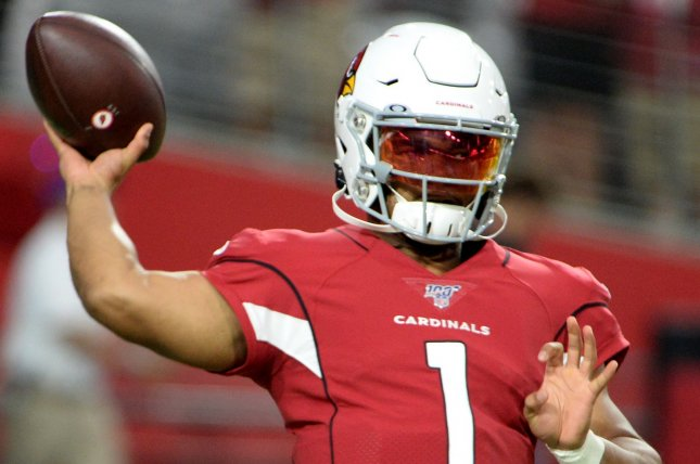 Arizona Cardinals quarterback Kyler Murray said he was itching to come back into the game after being pulled out following his opening drive in a preseason win against the Los Angeles Chargers Thursday in Glendale, Ariz. Photo by Art Foxall/UPI