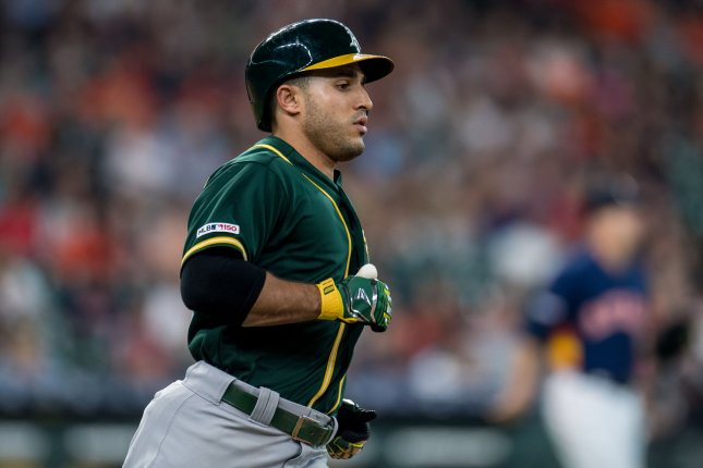 Oakland Athletics outfielder Ramon Laureano was involved in a benches-clearing incident during Sunday's game against the Houston Astros. File Photo by Trask Smith/UPI