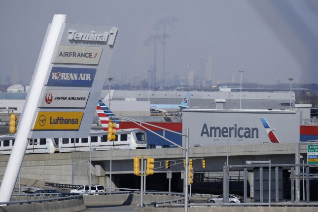 The American Airlines logo is seen at John F. Kennedy International Airport in New York City on March 11, 2019, just days before the 737 Max was grounded in the United States. File Photo by John Angelillo/UPI