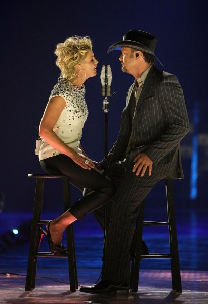 Faith Hill and Tim McGraw perform I Need You onstage during the 2008 Country Music Television Awards at the Curb Events Center at Belmont University in Nashville, Tennessee on April 14, 2008. (UPI Photo/Frank Micelotta/CMT)
