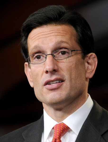 House Majority Leader Eric Cantor, R-VA, speaks during a news conference about a new report from the GOP members of the Joint Economic Committee saying that countries which reduce their debt and deficit grow jobs faster than countries that rely on more government spending on Capitol Hill in Washington on March 15, 2011. UPI/Roger L. Wollenberg