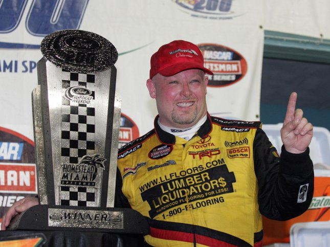 NASCAR driver Todd Bodine has lost a four-year battle with a homeowners association over a pool house and tiki hut and has had to tear the structures down. (UPI Photo/Martin Fried)