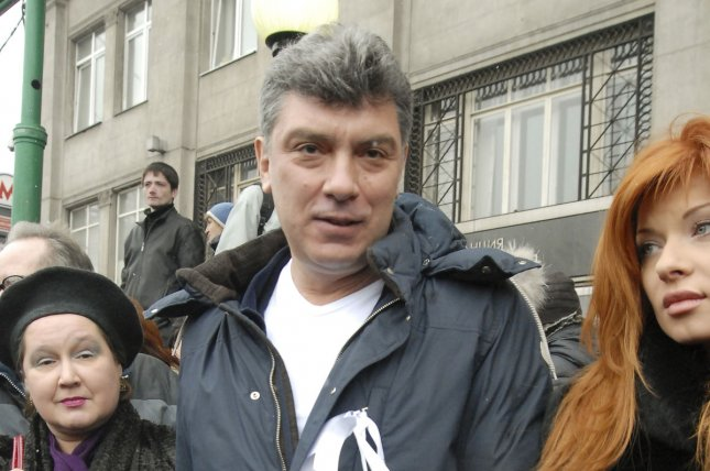 Opposition leader Boris Nemtsov (C) during a 2012 rally. He was shot to death Friday in Moscow File Photo: UPI