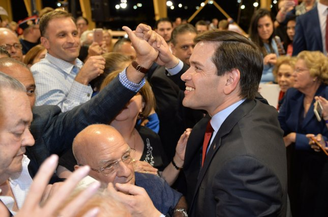 Supporters of Florida Sen. Marco Rubio greet the candidate during a rally for the Republican presidential nomination in Miami, Florida, on Tuesday. Friday, Rubio picked up an endorsement from the Orlando Sentinel newspaper for the upcoming March 15 Florida primary. Photo by Joe Marino-Bill Cantrell/UPI