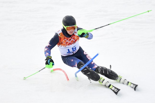 The United States' Ted Ligety makes his first run during the mens' slalom at the Sochi 2014 Winter Olympics in Krasnaya Polyana, Russia. File photo by Brian Kersey/UPI