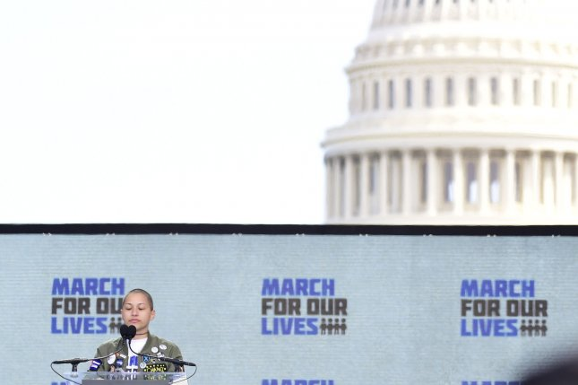 Student Emma Gonzalez observes moments of silence for victims of the February 14 shooting at a South Florida high school during a March for our Lives rally in front of the U.S. Capitol on March 24. Some Parkland students may soon work internships for Democratic lawmakers looking to control gun violence. File Photo by David Tulis/UPI