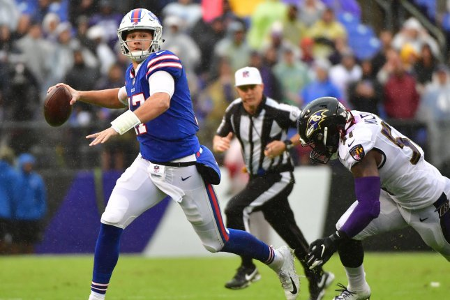 Buffalo Bills quarterback Josh Allen (17) scrambles against the Baltimore Ravens in the third quarter on September 9, 2018 at M&T Bank Stadium in Baltimore. Photo by Kevin Dietsch/UPI