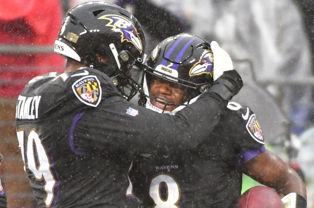 Baltimore Ravens quarterback Lamar Jackson (8) celebrates with offensive lineman Ronnie Stanley (L) after a 1-yard keeper for a touchdown against the San Francisco 49ers during the first half Sunday at M&T Bank Stadium in Baltimore. Photo by David Tulis/UPI