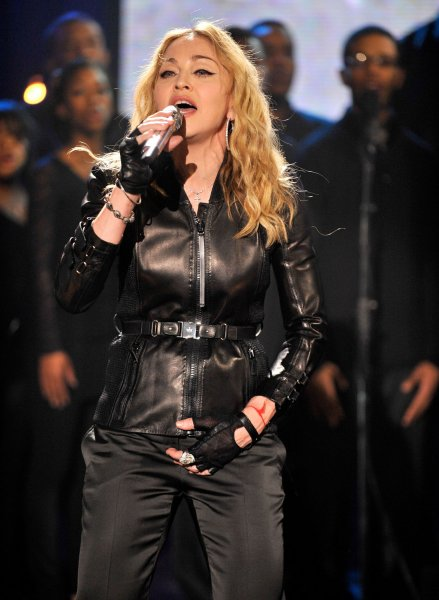 In this handout photo provided by MTV, Madonna performs as part of Hope For Haiti Now: A Global Benefit For Earthquake Relief at Kaufman Studios on January 22, 2010 in Astoria in the Queens borough of New York City. UPI/Kevin Mazur/HO