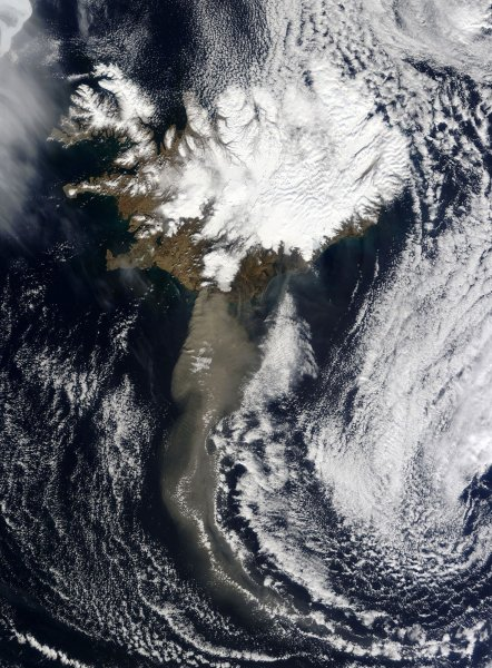 Thick ash poured from Iceland Eyjafjallajokull volcano when the Moderate Resolution Imaging Spectroradiometer (MODIS) on NASAÕs Aqua satellite acquired this image on April 19, 2010, blowing south and then turning east to the United Kingdom. The ash cloud consists of fine particles of pulverized rock, and potentially can cause a catastrophic hazard to aviation. UPI/NASA
