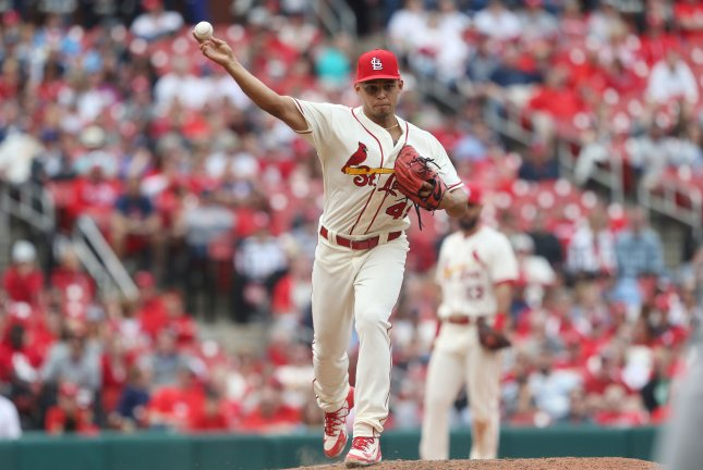 St. Louis Cardinals pitcher Jordan Hicks. File Photo by Bill Greenblatt/UPI