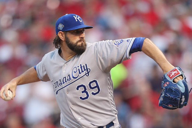 Kansas City Royals starting pitcher Jason Hammel delivers a pitch in the second inning Tuesday in a game versus the St. Louis Cardinals at Busch Stadium in St. Louis. Photo by Bill Greenblatt/UPI