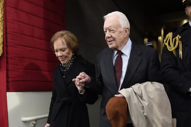 Former President Jimmy Carter and his wife, Rosalynn Carter, were hospitalized together at a Georgia hospital this week. File Photo by Saul Loeb/UPI