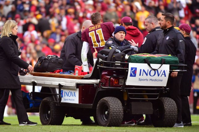 Washington Redskins quarterback Alex Smith suffered a broken fibula and tibia last season. File Photo by Kevin Dietsch/UPI