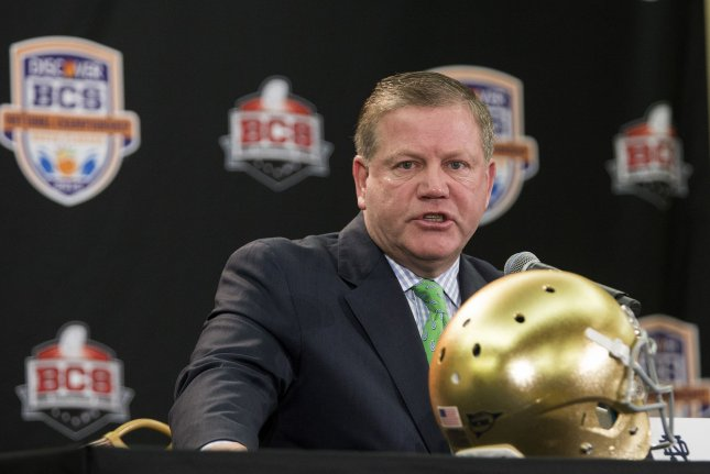 The NCAA also found that Notre Dame head coach Brian Kelly (pictured) had impermissible off-campus contact with a recruit in October 2019. File Photo by Mark Wallheiser/UPI