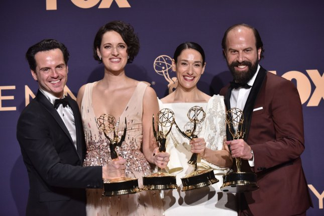 Left to right, Andrew Scott, Phoebe Waller-Bridge, Sian Clifford, and Brett Gelman appear backstage during the 71st annual Primetime Emmy Awards in Los Angeles in 2019. The 2021 edition of the Emmys will take place on Sept. 19. File Photo by Christine Chew/UPI