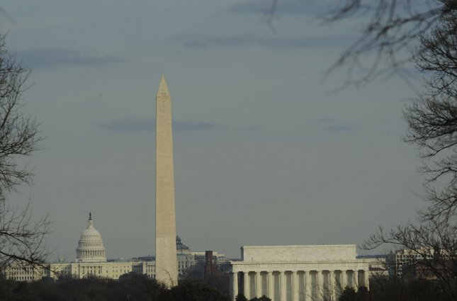 The U.S. Capitol Building, the Washington Monument, and the Lincoln Memorial (L to R) are seen from Arlington, Virginia on February 15, 2009. Tomorrow Americans celebrate the Federal holiday President's Day, honoring America's first President George Washington and sixteenth President Abraham Lincoln. (UPI Photo/Alexis C. Glenn)