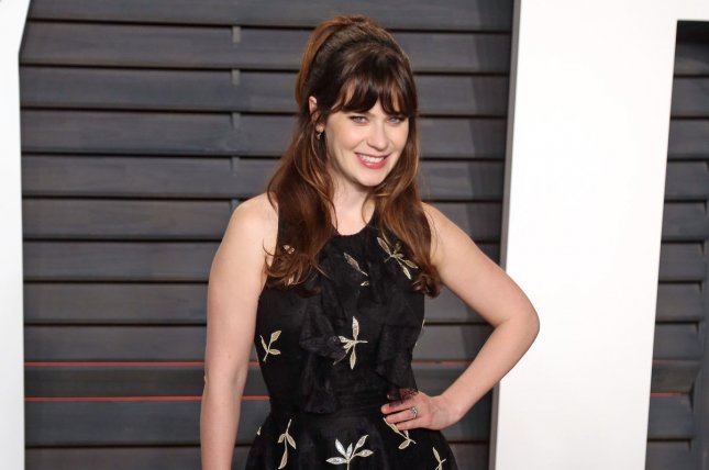 Zooey Deschanel attends the 2016 Vanity Fair Oscar Party in Beverly Hills on February 28, 2016. Photo by David Silpa/UPI