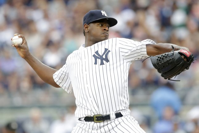 New York Yankees starting pitcher Luis Severino throws a pitch in the 3rd inning against the Boston Red Sox at Yankee Stadium in New York City on August 12, 2017. File photo by John Angelillo/UPI