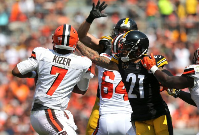 Pittsburgh Steelers cornerback Joe Haden sacks Cleveland Browns quarterback DeShone Kizer during their game in Cleveland on Sept. 10. Photo by Aaron Josefczyk/UPI