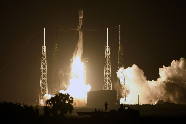 A SpaceX Falcon 9 rocket lifts off Thursday evening from Cape Canaveral Air Force Station in Florida, carrying a Global Positioning System satellite. Photo by Joe Marino/UPI