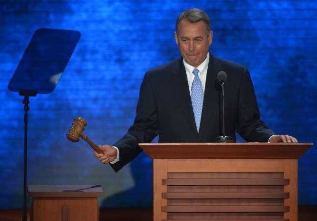Speaker John Boehner (OH) begins the nomination process for a presidential candidate at the 2012 Republican National Convention at the Tampa Bay Times Forum in Tampa on August 28, 2012. -- UPI/Kevin Dietsch