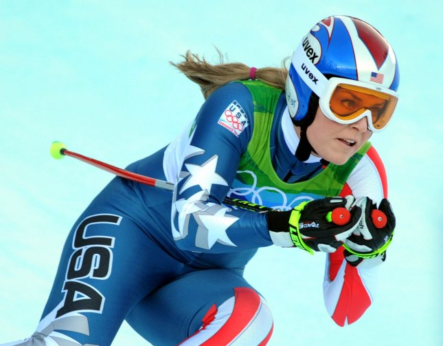 USA's Lindsey Vonn speeds down the alpine downhill course during the downhill portion of the Women's Super Combined event at Whistler Creekside at the Winter Olympics on February 18, 2010. Vonn finished first going into the slalom portion of the combined event. UPI/Pat Benic