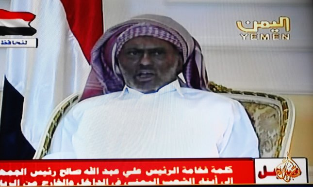 An image grab taken from Yemen's state television shows Yemeni President Ali Abdullah Saleh delivering a televised speech from the Saudi capital Riyadh on July 7, 2011 as he made his first TV appearance since he was wounded in an explosion at his palace in Sanaa. UPI/Ismael Mohamad.