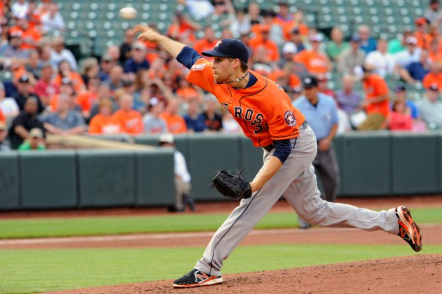 Houston Astros starting pitcher Collin McHugh (31) pitches against the Baltimore Orioles in the second inning at Orioles Park at Camden Yards in Baltimore, MD. on May 27, 2015. UPI/Mark Goldman