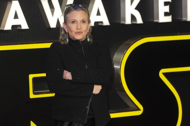 Carrie Fisher attends the European Premiere of Star Wars: The Force Awakens last year. Before her death, Fisher completed voice work for upcoming episodes of Family Guy. The actress had also completed filming for Star Wars: Episode VIII. File Photo by Paul Treadway/ UPI