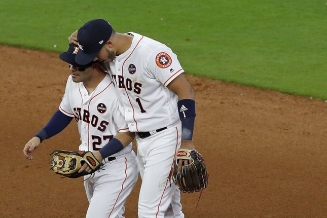 Houston Astros second baseman Jose Altuve and shortstop Carlos Correa celebrate their victory against the Boston Red Sox following Game 1 of the ALDS in Houston. Photo by Aaron M. Sprecher/UPI
