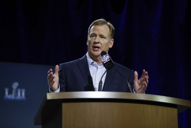 NFL Commissioner Roger Goodell speaks to the media at the Super Bowl LII press conference on January 31, 2018 at Hilton Minneapolis in Minneapolis, Minnesota. Photo by Kamil Krzaczynski/UPI
