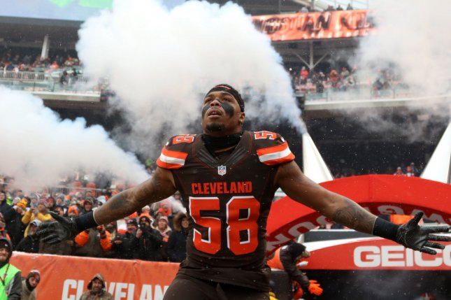 Cleveland Browns linebacker Christian Kirksey takes the field for the Browns game against the Cincinnati Bengals on December 11, 2016 at FirstEnergy Stadium in Cleveland. File photo by Aaron Josefczyk/UPI