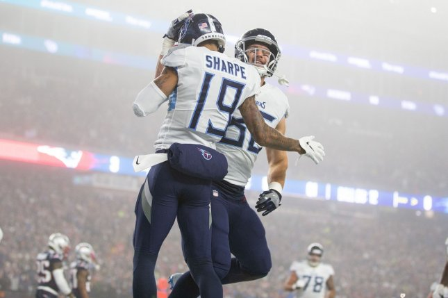 Former Tennessee Titans wide receiver Tajae Sharpe (19) had 25 receptions for 329 yards and four touchdowns last season. File Photo by Matthew Healey/UPI