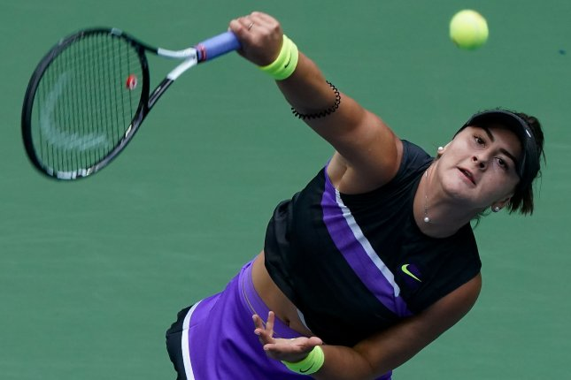Canada's Bianca Andreescu hasn't competed on tour since withdrawing from a match during the WTA Finals in October 2019 because of a left knee injury. File Photo by Ray Stubblebine/UPI