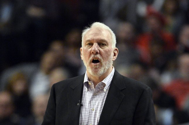 San Antonio Spurs head coach Gregg Popovich yells to his players during the fourth quarter against the Chicago Bulls at the United Center in Chicago on January 22, 2015. The Bulls defeated the Spurs 104-81. UPI/Brian Kersey