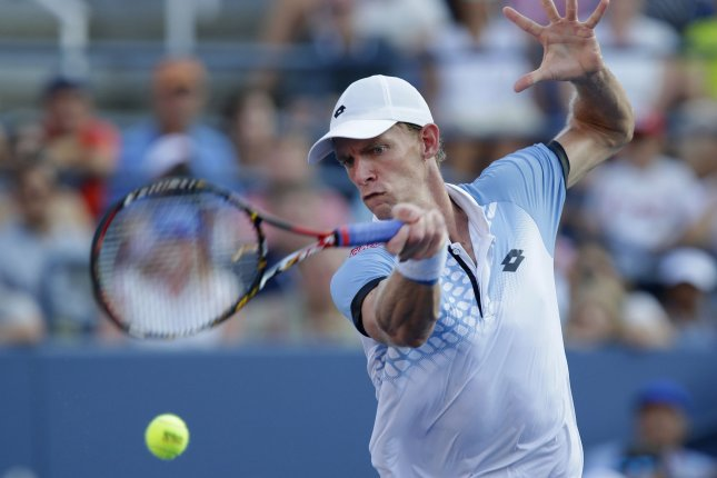 Kevin Anderson of South Africa hits a forehand to Andy Murray of the United Kingdom in the 4th round in Louis Armstrong Stadium on day 8 at the US Open Tennis Championships at the USTA Billie Jean King National Tennis Center in New York City on September 7, 2015. Photo by John Angelillo/UPI