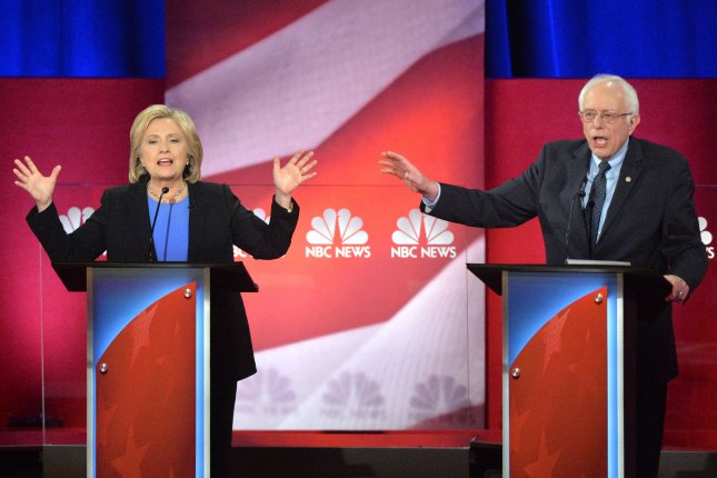Democratic presidential candidates Hillary Clinton and Sen. Bernie Sanders, D-Vt., participate in a primary debate at the Gaillard Center in Charleston, South Carolina, January 17, 2016. Thursday, the pair are set to go head-to-head for the first time at a debate in New Hampshire, a few days before the state's key primary vote. Photo by Kevin Dietsch/UPI