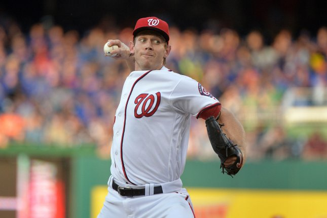 Washington Nationals starting pitcher Stephen Strasburg (37) pitches against the New York Mets in the first inning at Nationals Park in Washington, D.C. on May 24, 2016. Photo by Kevin Dietsch/UPI