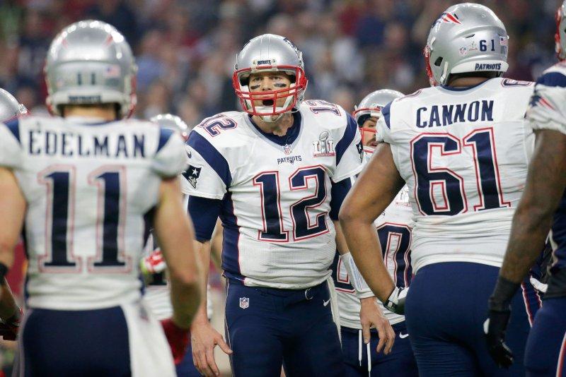 New England Patriots quarterback Tom Brady (12) calls a play in the fourth quarter of Super Bowl LI against the Atlanta Falcons at NRG Stadium in Houston Texas on February 5, 2017. File photo by John Angelillo/UPI