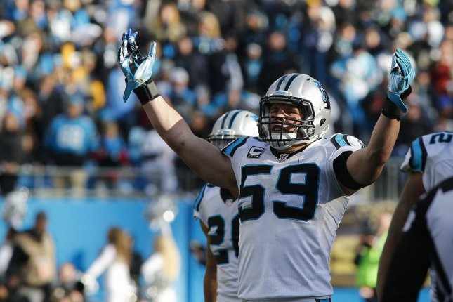 Carolina Panthers linebacker Luke Luke Kuechly encourages the fans during the second half as the Panthers play the Seattle Seahawks in a NFC divisional playoff football game at Bank of America Stadium in Charlotte, North Carolina on January 17, 2016. File photo by Nell Redmond/UPI