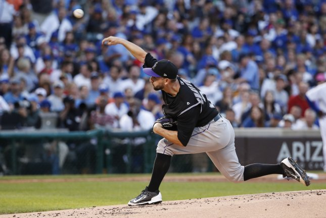 Former Colorado Rockies and new Chicago Cubs starting pitcher Tyler Chatwood delivers against the Chicago Cubs in the first inning on June 8, 2017 at Wrigley Field in Chicago. Photo by Kamil Krzaczynski/UPI