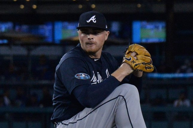 Sean Newcomb (15) relieves Braves starting pitcher Mike Foltynewicz in Game 1 of the NLDS against the Los Angeles Dodgers at Dodger Stadiumon October 4, 2018. Photo by Jim Ruymen/UPI