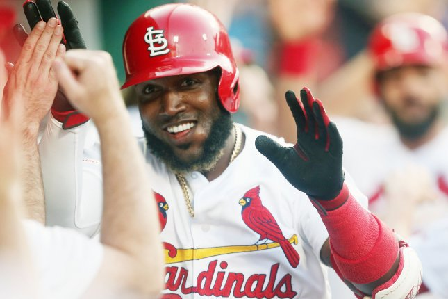 St. Louis Cardinals outfielder Marcell Ozuna went 3-for-8 with five RBIs, two runs scored and a walk in a double-header against the Kansas City Royals on Wednesday in St. Louis. Photo by Bill Greenblatt/UPI