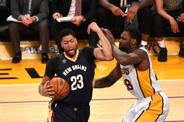 New Orleans Pelicans forward Anthony Davis (23) will officially join the Los Angeles Lakers next month. File Photo by Jon SooHoo/UPI