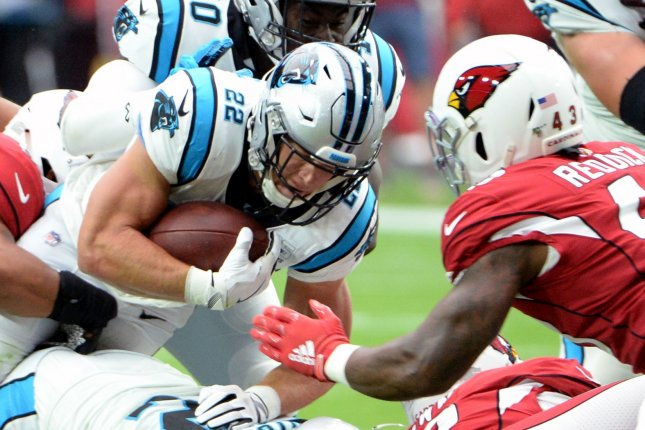 Carolina Panthers running back Christian McCaffrey (L) has eclipsed 170 yards from scrimmage in three of his four games this season. Photo by Art Foxall/UPI