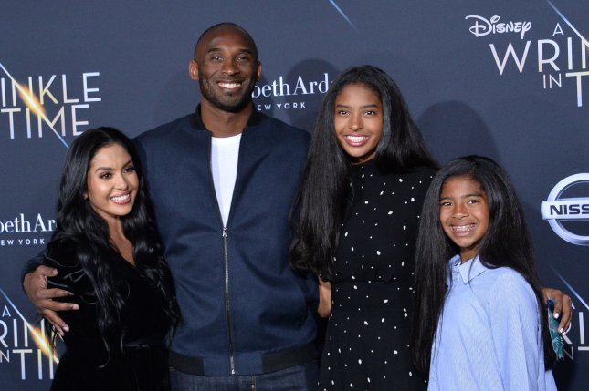 Former Los Angeles Lakers guard Kobe Bryant, his wife Vanessa (L) and their daughters Natalia (2-R) and Gianna (R) attend the premiere of A Wrinkle in Time on Feb. 26, 2018, at the El Capitan Theatre in Los Angeles. File Photo by Jim Ruymen/UPI